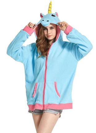 Флисовый худи единорог голубой с розовым тёплый плюшевый мягкий уютный