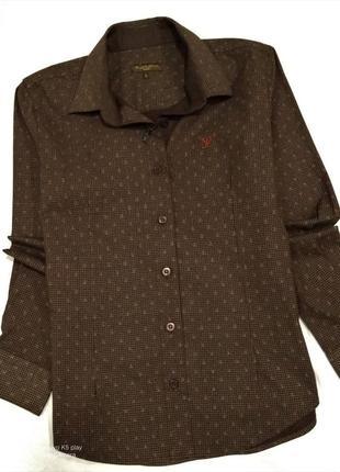 Рубашка женская коттоновая-коричневая- классика- m-l--louis-vuitton- франция-- новая