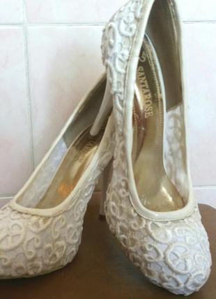 Белые свадебные кружевные туфли р36