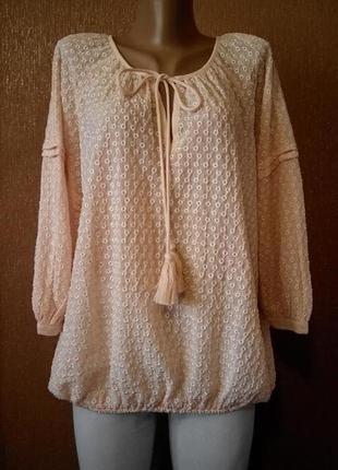 Новая блузка свободная под резинку с ажурной вышивкой ришелье прошва размер 12-14 m&s