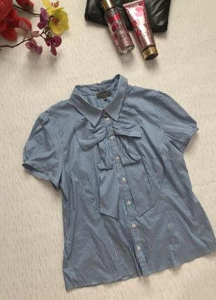 Рубашка в голубую полоску 14- размер . с бантиком