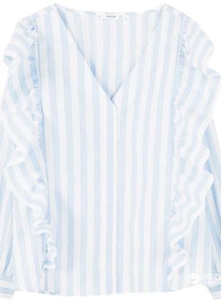 Стильная mango рубашка- блуза в голубую полоску