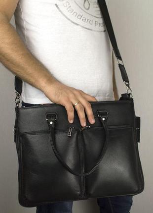 Сумка портфель кожаная для ноутбука а4 sfip 8027