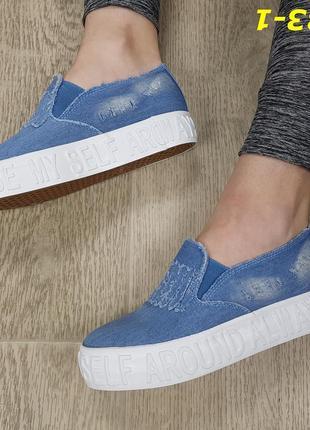 Слипоны текстильные на высокой платформе джинсовые голубые