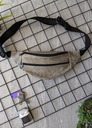 Стильная бананка натуральная кожа, модная сумка на пояс лайм хаки замш б1
