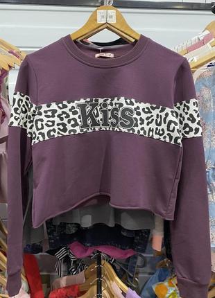 Модный женский  короткий свитшот  размер s/m цвет фиолетовый