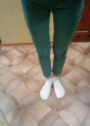 Бархатные изумрудные штаны zara