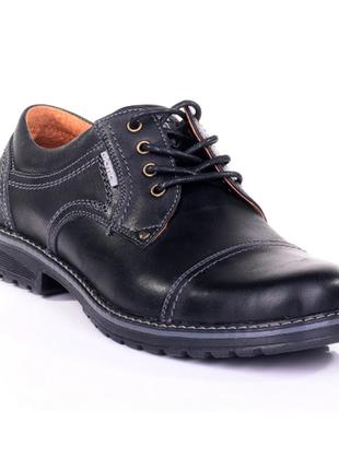 Мужские кожаные туфли city usa black  009 ч