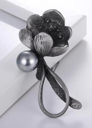 Красивая брошь подвеска кулон цветок жемчужинка