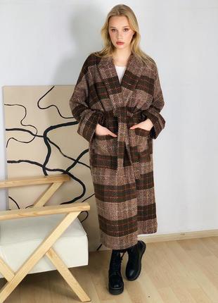 Пальто кимоно клетка