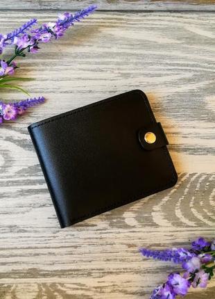 Черный маленький кожаный кошелек мужской портмоне бумажник  на кнопке ручной работы