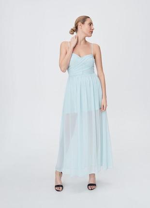 Мятное платье макси