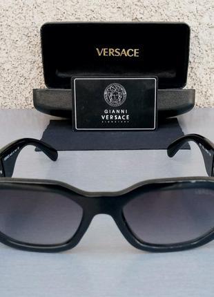Versace очки женские солнцезащитные стильные черные с золотом с градиентом