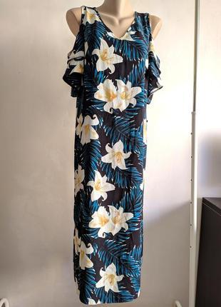 Шикарное платье george пальмовыми листьями и цветами