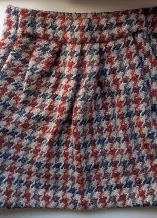 Теплая шерстяная юбка с карманами короткая tcn