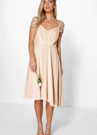 Платье сарафан персиковый шифоновый бежевый