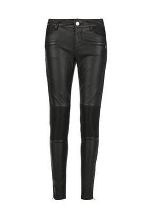 Крутые штаны брюки в байкерском стиле из искусственной кожи