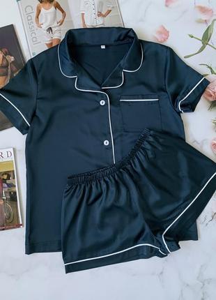 Шелковая изумрудная пижамка рубашка с шортиками. атласная сексуальная пижама.с-л.