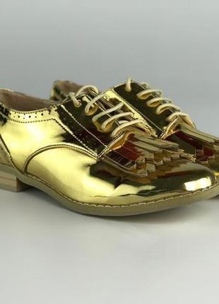 Модные золотистые туфли с бахромой  sh1933095 asos3 фото