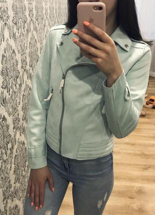 Голубая косуха замшевая под замш куртка