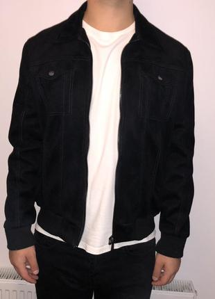 Чёрная куртка бомбер под замш zara man