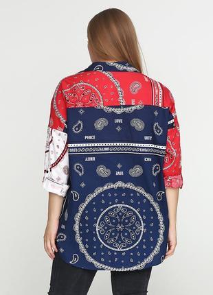 Стильная блуза/ рубашка , принт h&m,oversize