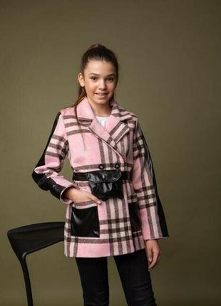 Демисезонное кашемировое пальто пиджак жакет на девочку клетка