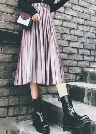 1609.    бархатная длинная фрезовая юбка