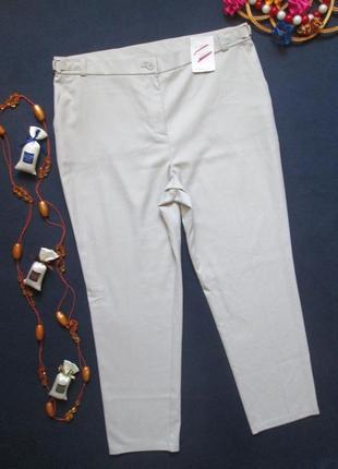 Бесподобные стильные нарядные брюки светло серый в мелкий принт высокая посадка m&s
