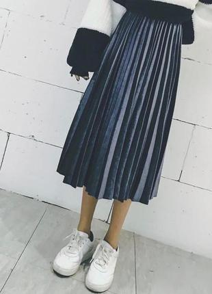 1609.    синяя бархатная длинная юбка