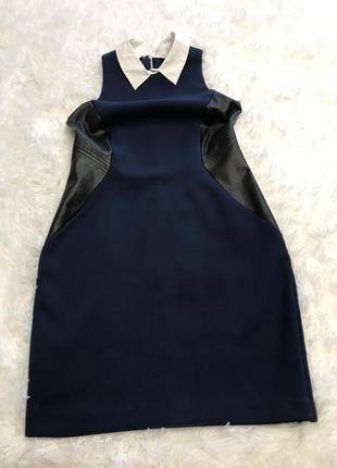 Платье-силуэт с кожаными вставками