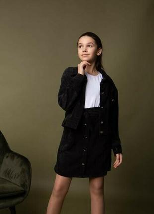 Нарядный школьный костюм двойка вельветовый юбка пиджак