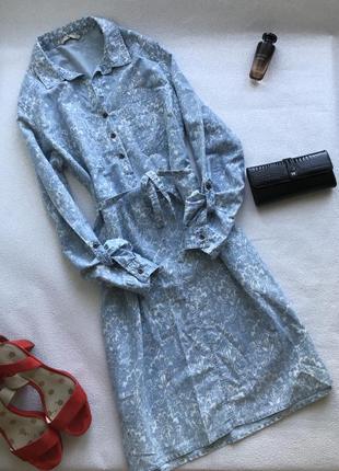 🌿котоновое платье под пояс в ровном стиле