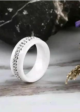 Кольцо керамическое колечко белое керамика