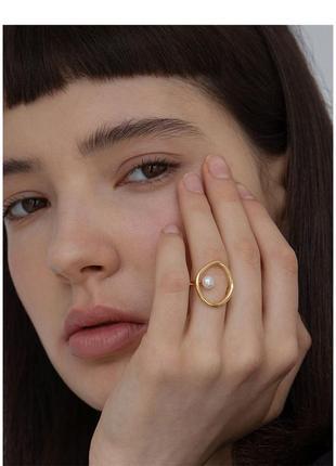 Кольцо колечко каблучка оригинальное с искусств жемчугом новое
