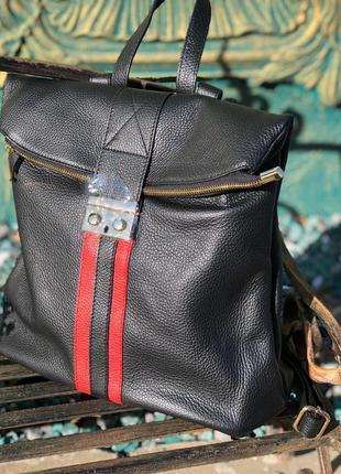 Крутой женский рюкзак из натуральной кожи чёрный кожаный новая коллекция