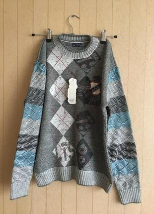 Вязаный свитер для мальчика на рост 152-158