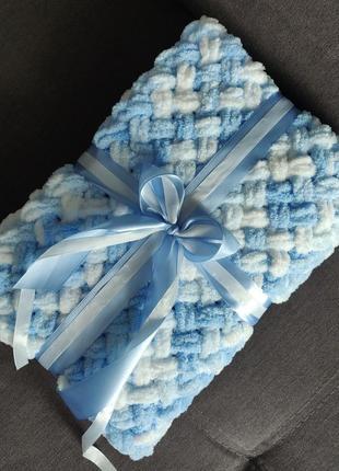 Плюшевый плетеный плед для новорожденных
