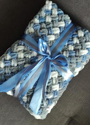 Плюшевый плед для новорожденных серо-бело-синий