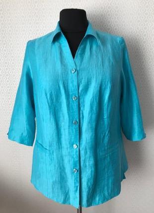 Льняной (90/%) бирюзовый жакет / пиджак от бренда lebek, размер нем 44, укр 52-54