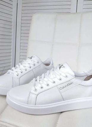❤ женские  белые кожаные кеды кроссовки calvin klein❤
