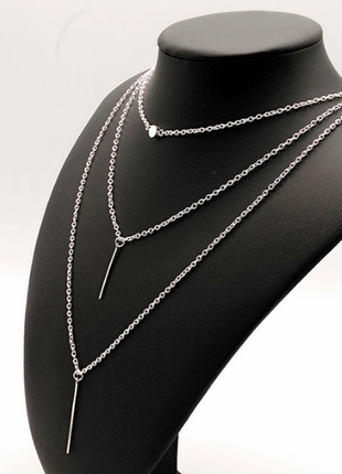 Цепочка цепь колье ожерелье три 3 цепочки под серебро новая минимализм