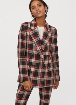 Стильный костюм двубортный жакет, пиджак+юбка миди  h&m
