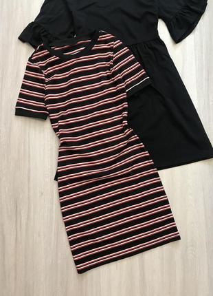Шикарное платье миди в рубчик и полоску сукня міді в смужку h&m s/m
