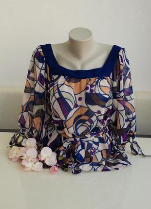 Шифоновая разноцветная блуза с рукавом 3/4 atmosphere