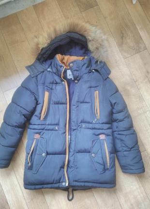 Тёплая зимняя куртка парка на мальчика 6-8 лет