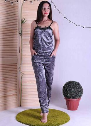 Женская пижама топ с штанами,