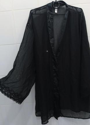 Сексуальный классный прозрачный халат с кружевом