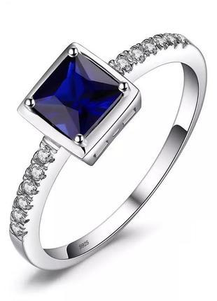 Серебряное кольцо с гидротермальным сапфиром