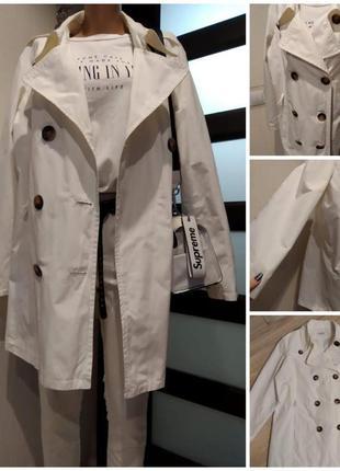 Крутой брэндовый белый пиджак жакет плащ трэнч кардиган накидка